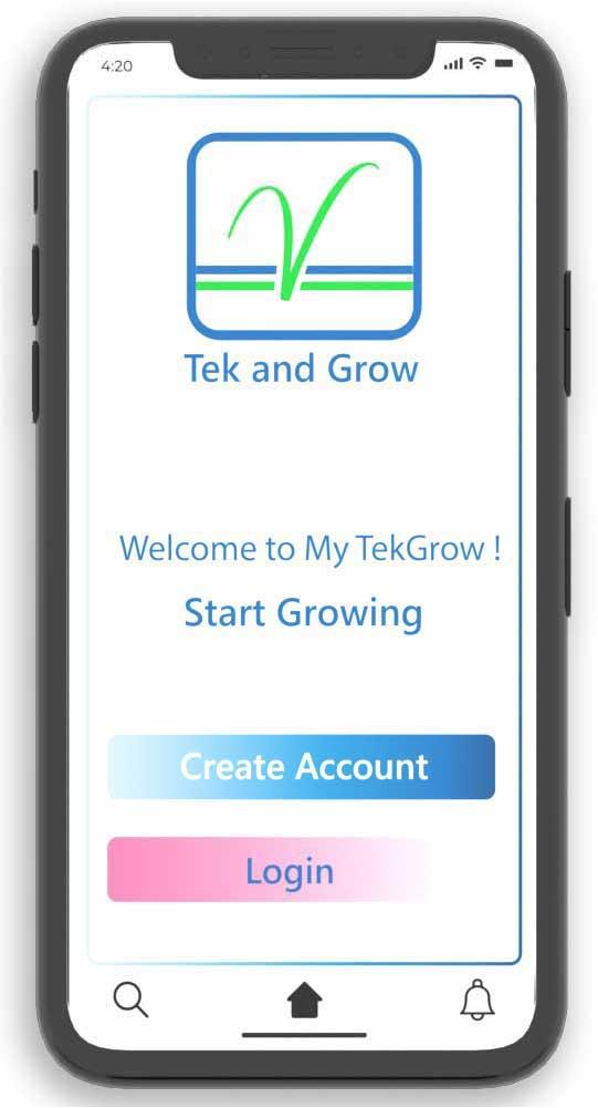 My TekGrow app main screen