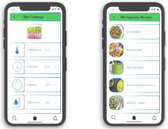 My TekGrow app recipes screen